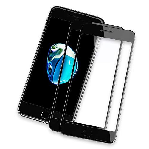 NEW'C Verre Trempé pour iPhone 7, iPhone 8 Integral [Pack de 2] [Couverture Complète] Film Protection écran en Noir -Anti Rayures sans Bulles d'air, Ultra résistant dureté 9H