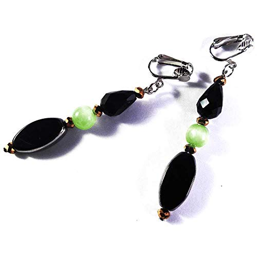 maxmuc Ohrclips Ohrhänger aus Metall und Glas in schwarz, goldfarben und grüner Cateye Perle 7cm