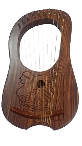 NEW-Lyre-Harpe-en-palissandre-grav-emblme-Irlandais-HarpeHarpe-Irlandaise-Lyra-Jante-10-cordes-en-mtal