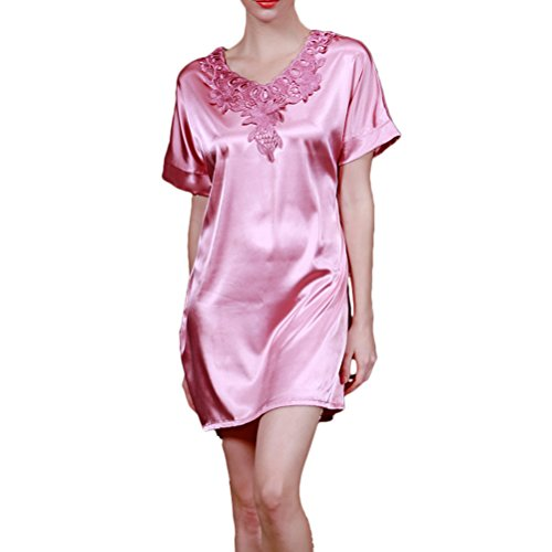 Zhhlinyuan Women's Soft Lingerie Nightdress Sexy Silk Slip Nightgown Free size Coral Red