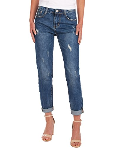 Fraternel Damen Jeans Hose relaxed fit Girlfriend used destroyed Dunkelblau M / 38 - W31 (Jeans Fit Flare Easy)