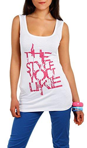 Damen Trägertop Top Shirt T-Shirt Ärmellos Tunika mit Motiv Gr. S M 36 38, 5545 Weiß