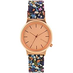 Komono Unisex Quartz Watch with Rose Gold Dial Analogue Display and Multicolour Leather Strap KOM-W1825