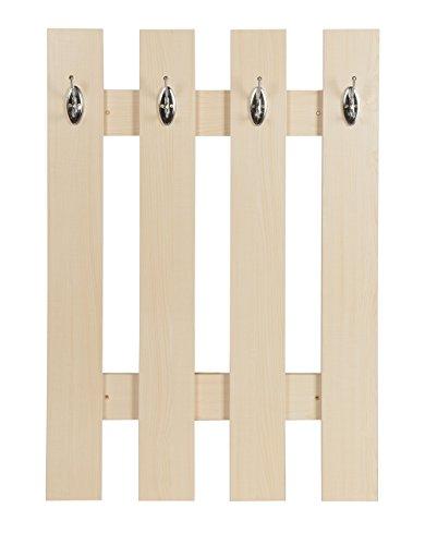 ts-ideen Garderobe Wandgarderobe Flur Diele Paneel Hakenleiste Ahorn Holz 4 Haken 100 x 70 cm