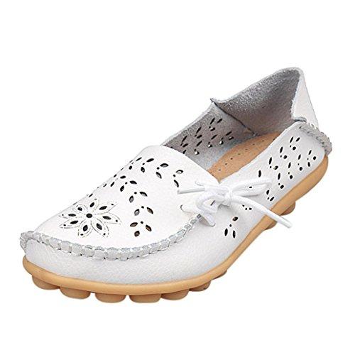 Beiläufige Erbsenschuhe Damen, DoraMe Frauen Slip On Freizeitschuhe Frühling Neue Einzelne Schuhe Hohl Atmungsaktive Flache Slipper Mode Bequeme Espadrilles (EU:43/CN:44, Weiß)