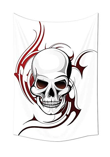 daawqee Tattoo Scary Fierce and Wild Skull with Red Flames Tribal Artistic Tattoo Image Wall Hanging for Bedroom Living Room Dorm Red and White Unique Home Decor - North Carolina Tattoos