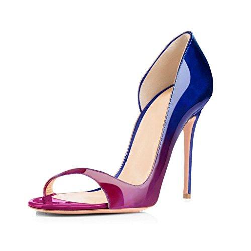 ELASHE Escarpins Femms Bout Ouvert Talon Aiguille 12cm Talon Haut Chaussures de Soirée Mariage Violet-Bleu