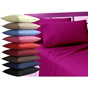 "Single Plain Dyed Standard Pillowcase 19""x29""/48x74cm- In 22 Colours (Light Blue)"