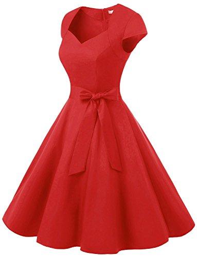 Dressystar Robe à 'Audrey Hepburn' Classique Vintage 50's 60's Style à col en cœur, à mancheron Rouge