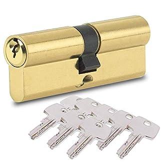 BETOY Cilindro cerradura, Cilindro de Alta Seguridad, Leva Larga, Llave – Llave, Latonado, 40/40(80mm) Cilindro de doble vuelta para puertas/entradas exteriores