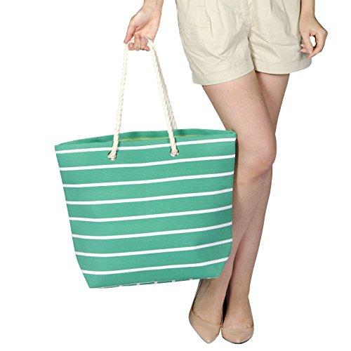 Frauen Umhängetasche für den Strand aus Leinen Sommer Urlaub Stoffbeutel Shopping Wiederverwendbar Handtasche Gestreift / Grün
