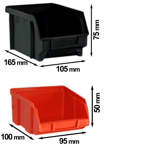 Deuba® Wandregal + Stapelboxen ✔ 32 tlg Box ✔ extra starke Wandplatten ✔ Regal erweiterbar ✔ Werkstattregal Lagerregal Werkstattwandregal Steckregal - 6