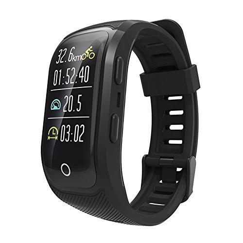 OOLIFENG GPS Running Watch, IP68 Impermeabile Fitness Orologio Intelligente Con Built-In Cardiofrequenzimetro Altimetro Ecc Per All'aperto Avventuriero,Black