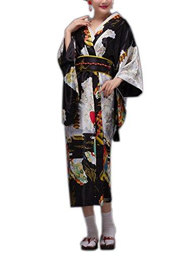ACVIP Donna Vestaglia Giapponese Lungo Kimono con 8 Colori Nero