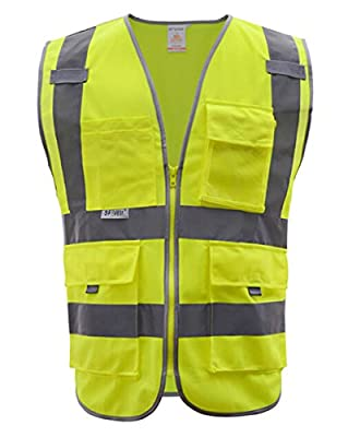Panegy Unisex Hohe Sichtbarkeit Warnweste Reflektierende Weste Sicherheitsweste mit Vier Vornen Taschen Reißverschluss - Neongelb