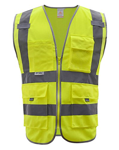 Panegy Multi Pockets High Visibility with Reflective Tape Zipper Front Safety Vest Hi-Vis Yellow M by Panegy