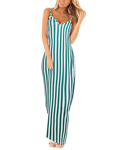 ACHIOOWA Maxikleid Damen V Ausschnitt ?rmellos Casual Gestreift Lange Sommer Strand Kleider Grün Streifen-C11748 EU 34 Casual Sommer Kleid