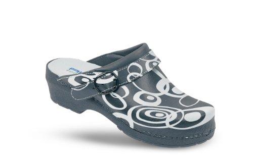 AWC-Footwear 12111-48-20-41 Sabot Deco-Line-Retro avec Semelle, Blanc/Noir, Taille 41 Blanc/Noir