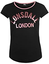 Lonsdale Logo T Shirt Ladies noir