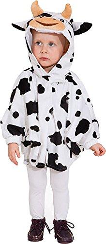 Kuh Cape, schwarz-weiß (Cape mit Kapuze und Ärmel) - Größe: 104 (Kuh Kostüm Kinder)