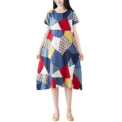 VECOLE Damenoberteile Summer Fashion Damen Große Größen Kurzarm Baumwolle Leinen Druck Oansatz Große Unregelmäßige A-Line Kleid Rock Kleiden(Blau,XXL) -
