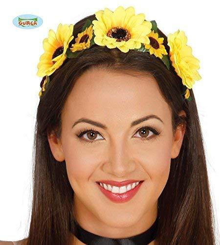 Guirca 70er Jahre Blumenkranz Haarband für Damen Gelb Hippie Fasching Party Zubehör