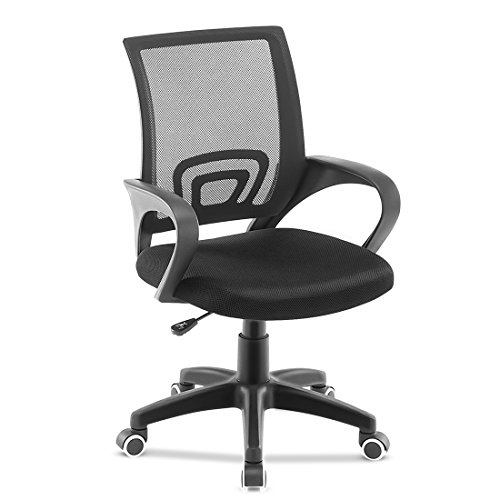 JL Comfurni Chaise de bureau pivotante et réglable en maille, dossier bas, noir, Normal Size For Adults