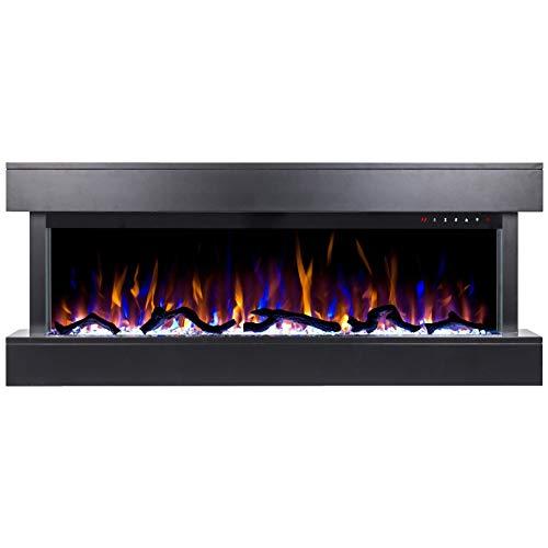 Noble Flame Atlanta - Elektrokamin Wandkamin Kamin-Ofen - 1090 mm breit inkl. Elektroeinsatz mitHeizfunktion - 3 Flammeneffekte - schwarz