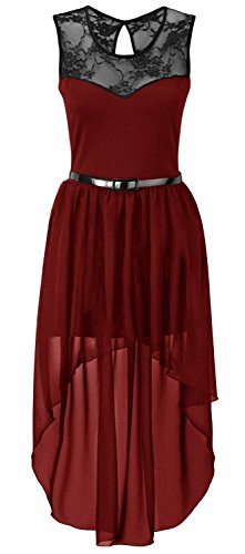 New Womens Plus Size Uneven Chiffon Dip Hem Lace Belted Prom Party Dress ( Wine , UK 24-26 / EU 52-54 ) (Lace Belted Dress)
