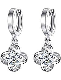 1fa5ac5ea72b Pendientes mujer plata de ley 925 pendientes largos con colgantes de flor  de circonita de crystal
