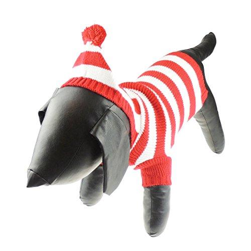 Liebenswürdig, festliche Weihnachten rot & weiß gestreift Hund Katze Warm Winter Knit Hoodie Kapuzen (In Adorable Kostüme Tiere)