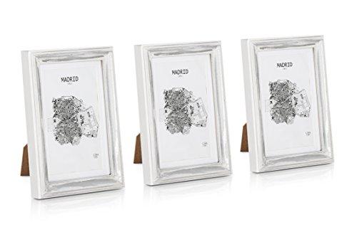 hmen 13x18 cm - 3er Set - Glasfront - mit Passepartout für 10x15 Fotos - 2 cm Rahmenbreite - Echtholz - Silber Weiß ()