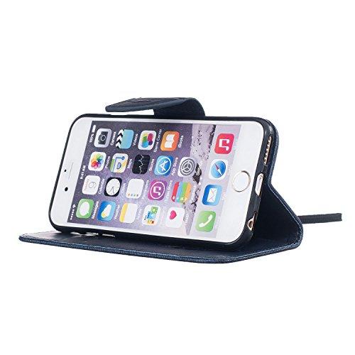 Per Apple iPhone 5 5G 5S / iPhone SE (4 Pollici) Custodia ZeWoo® Custodie in PU Pelle Case Cover - BF061 / Piuma nera BF063 / Piuma blu scura