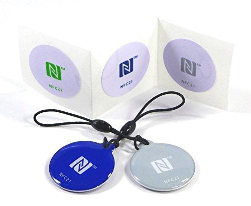 NFC Starter Kit Mini, 5 NFC Tag Sticker kompatibel mit allen NFC Smartphones, NFC Aufkleber Kit für einen kostengünstigen Einstieg in die NFC Welt
