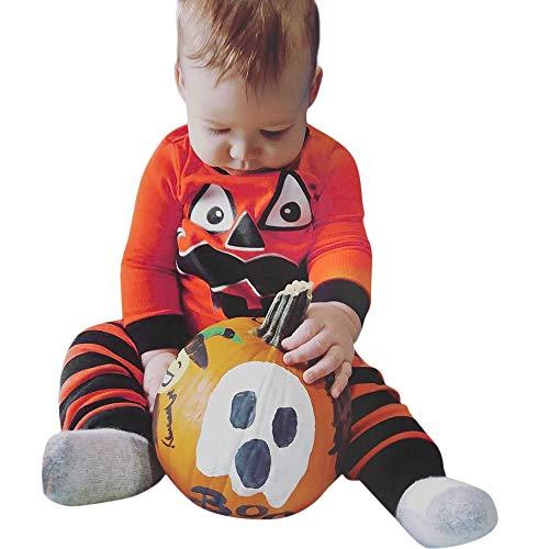 SEWORLD Baby Halloween Kleidung,Niedlich Neugeborenes Baby Halloween Cartoon Striped Drucken T-Shirt Tops + Hosen Set Kleidung(Orange,12 Monate)
