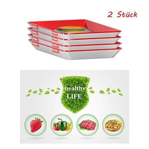 LCLrute Essens Erhaltung Tablett, Wiederverwendbar Tablett Elastische Film Vakuum Erhaltung Umweltschutz, für Lebensmittel Cover Kitchen Instant Lebensmittel Fresh Cover (Rot, 2 x Tray)