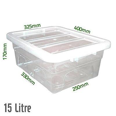 15 L, Kunststoff Transparent, Robust, Aufbewahrungsboxen/Dosen mit Deckel, Hergestellt Im UK von Elixir - Du und dein Garten
