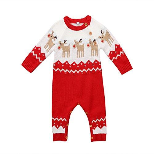 Vpuquuz Neugeborenes Dickes Weihnachten Overall Gestrickten Pullover für -