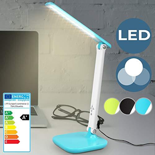 Lampe de Bureau LED   3 Modes de Couleur, 7 Niveaux de Luminosité, Adaptateur de Courant, Port USB de Recharge   Lampe de Table Puissante, Lampe de Chevet ou de Table (Turquoise)