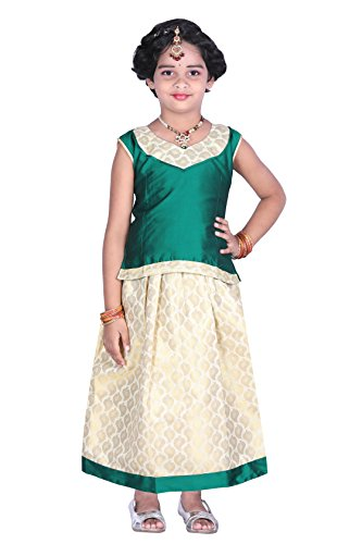 JISB Girl's Lehenga Choli,Pavadai sattai,color Green (6-7 Years)