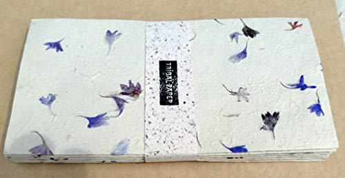 paperfreak: Blütenpapier mit Kornblumen - Blüten Couverts/Umschläge Din lang handgeschöpft 15er Bund Seidelbast