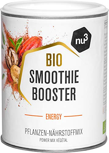 nu3 Smoothie Booster Energy – 100g Bio Superfood-Mix – mit wichtigen Nährstoffen & Vitaminen – enthält Maca, Matcha, Baobob, Kakao & Guarana – 100% Vegan und ohne Zuckerzusatz – 100% natürlich