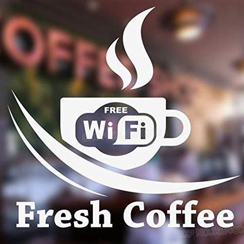 zaosan Etiqueta de la Pared Taza WiFi Gratis calcomanías de Pared para la Tienda de café Signo removible Etiqueta de la Ventana decoración de la Tienda Show Glass Decor 42X42CM