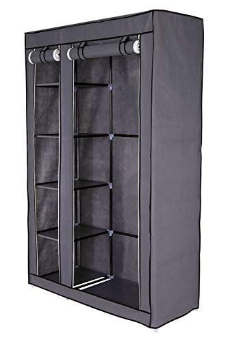 Dibea wr00319 - guardaroba pieghevole in tessuto, 175 x 110 x 45 cm, colore: grigio