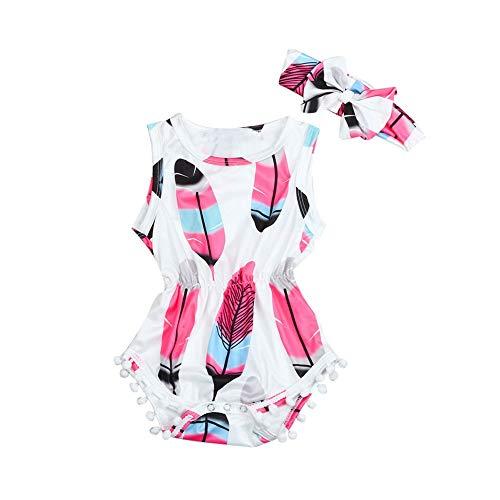 Beikoard_Babykleidung Infant Kinder Baby Mädchen ärmellose Feder Strampler Overall + Stirnband 2PCS Set Kostüm (Kostüm Box Größentabelle)