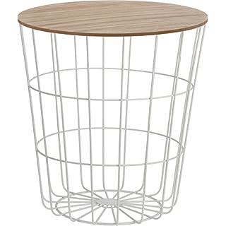 Meinposten Beistelltisch Nachttisch Tisch Korb mit Stauraum Ø 39 cm H=41 cm couchtisch rund drahtkorb Metall Holz weiß mit Deckel