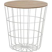 Meinposten Beistelltisch Tisch mit Stauraum Ø 39 cm H=41 cm Metall Holz Nachttisch weiß mit Deckel
