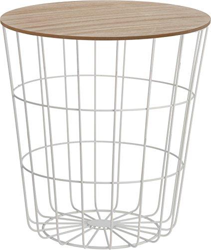 Beistelltisch Tisch mit Stauraum Ø 39 cm H=41 cm Metall/Holz Nachttisch weiß