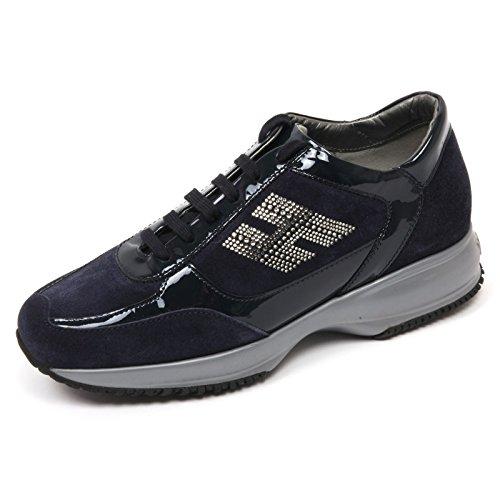 C8038 sneaker donna HOGAN INTERACTIVE scarpa H strass blu shoe woman Blu