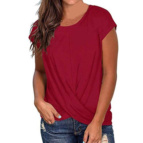 Sanahy DamenT-Shirt Sommer Rundhals Tunika Lose Oberteil Asymmetrisch Bluse Tops, Falten Rundhals Elegante Top Bluse Lässige Kurzarmshirt